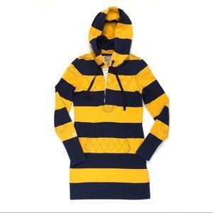 Ralph Lauren rugby shirt dress navy gold stripe
